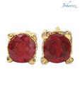 Johareez Round Shape Genuine Garnet Gold Plated Studs