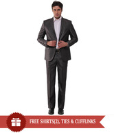 Canary London Vintage Grey Designer Suit With Free Shirt, Cufflink & Neck Tie