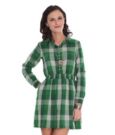 Belle Fille Checkered Print Green Dress