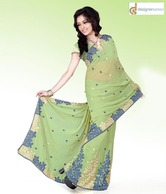 Designersareez Pastel Green Faux Georgette Saree With Unstitched Blouse