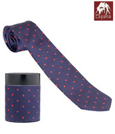 Espana Navy Blue & Red Polka Dot Stripes Necktie