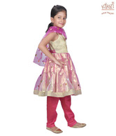 Kilkari Pink & Golden Anarkali Suit For Kids