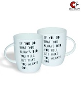 Clay Craft 2 Pcs  Motivational Quote Milk Mug set