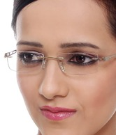 Quantum Rimless Gold Rectangular Frames