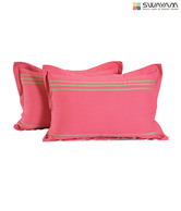 Swayam Solid Rose Pillow Cover Set- Two Pcs