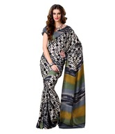 Prafful Beautiful Black-Grey Printed Bhagalpuri Silk Saree