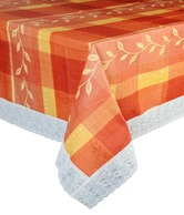 Amaraa Orange Table Cover With Checks