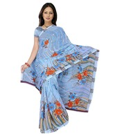 Khazana Blue Printed Faux Georgette Saree
