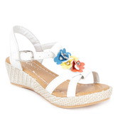 Funky Floral White Sandals