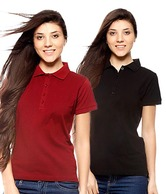 Gritstones Black & Maroon Cotton Polo T-Shirt Combo Of 2