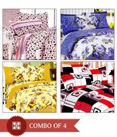 D&Y Set Of Four Designer Double Bed Sheets