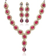 Adhira Tear Drop Pink Stone Necklace Set