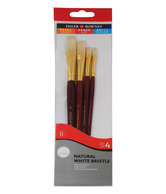 Daler-Rowney Natural White Bristle Hair Long Handled Brushes (4 Pc Set)