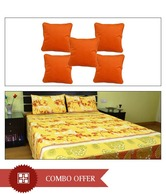 MeSleep Yellow Double Bed Sheet & Orange Cushion Covers Combo- 8 Pcs