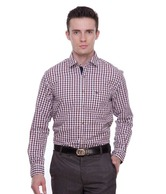 Peter England Navy & Red Checkered Shirt
