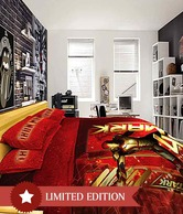 Stoa Paris Iron Man Single Bed Sheet & 1 Pillow Cover- Red