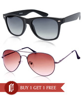 Joe Black Modish Gunmetal-Brown aviator Buy 1 Get 1 Matte Black Wayfarer Free