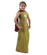 Hello Kitty Olive Green Ghagra Choli For Kids