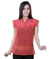 Raindrops Pink Red Faux Georgette Top