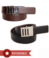Van Heusen Textured Black & Brown Reversible Belt