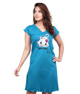 Clifton Turquoise Blue Cat Printed Cotton Nighty