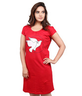Clifton Red Bird Printed Cotton Nighty