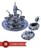 Little India Antique Wine Set With Free Gemstone Ash Tray