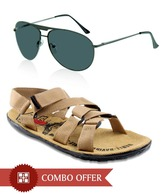 Zion Trendy Beige Floaters & Sunglasses Combo
