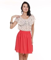 Loveusale Retro White-Orange Dress