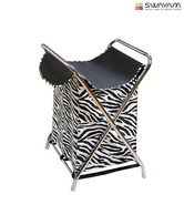 Swayam Black & White Zebra Print Laundry Bag