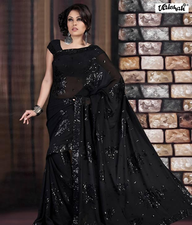 Vaishali Black Georgette Saree(EmbroideredSaree-854E)