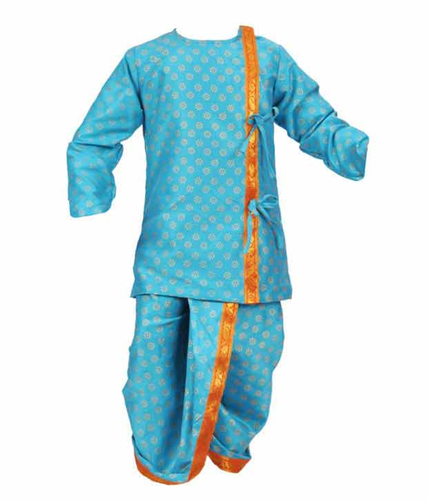 Kilkari Vibrant Blue Angrakha Dhoti For Kids
