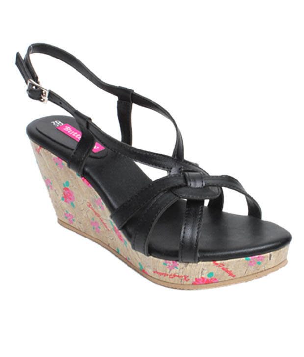 Butterfly Imposing Black Wedge Heel Sandals