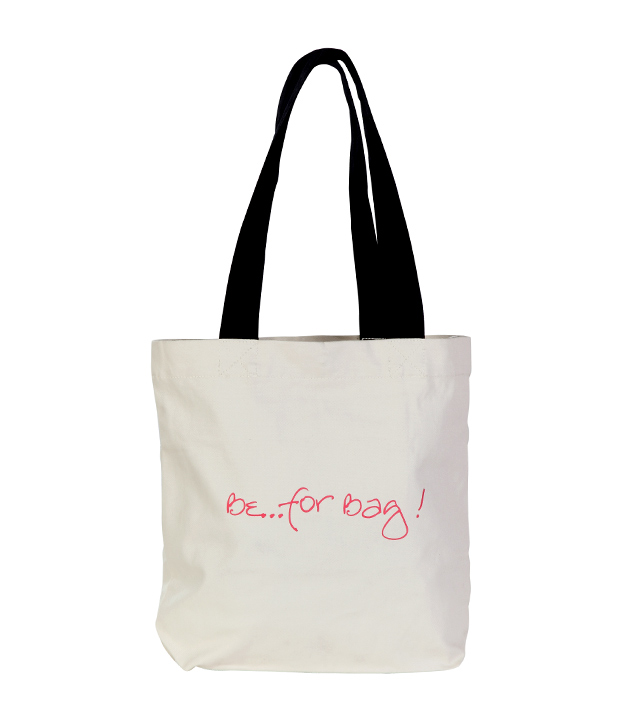 Be For Bag! White & Black Quote Printed Handbag