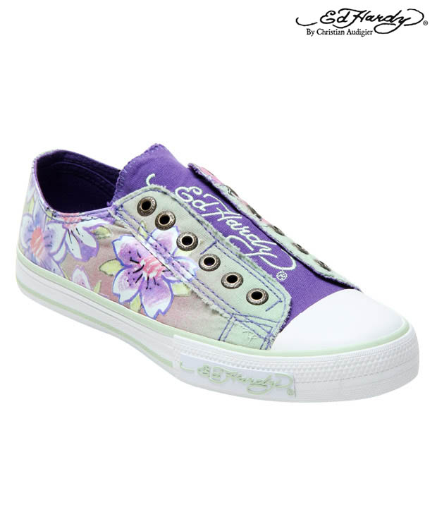 Ed Hardy Teal Flower Sneakers