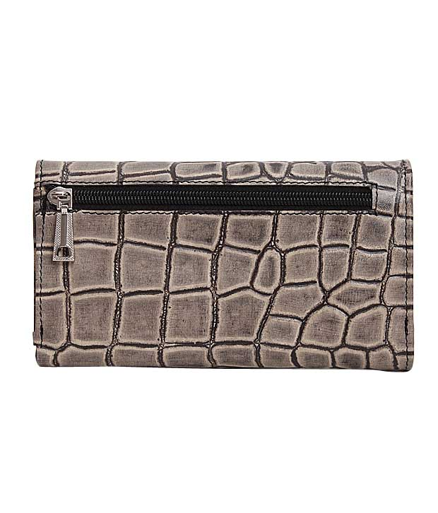 Essart Black & Beige Croc Embossed Wallet