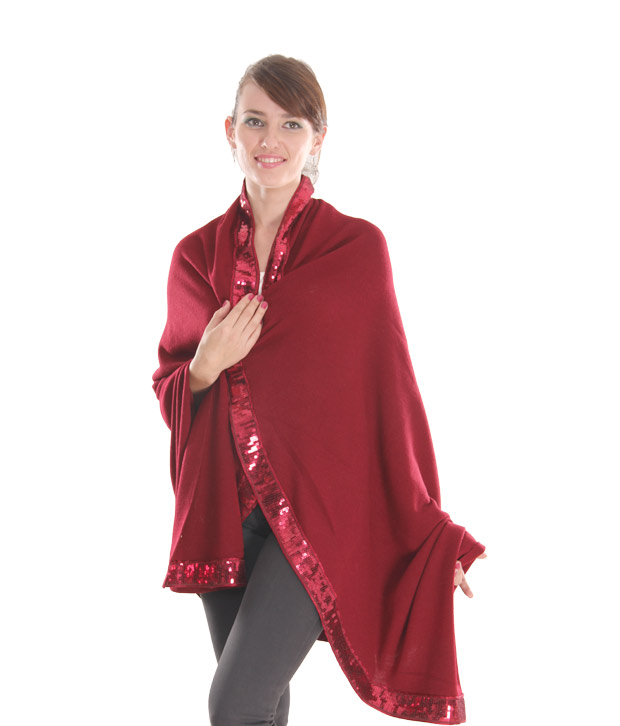 Fort Collins Sequined Maroon Cape