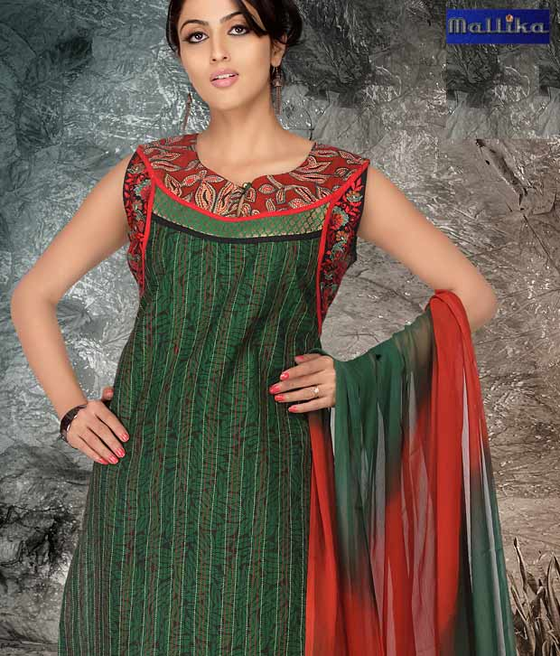 Mallika Green and Brown Unstitched Salwar Suit with Dupatta