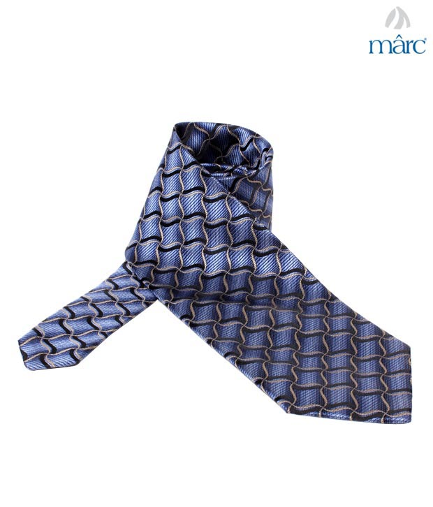 Marc Blue Wavy Pure Silk Necktie
