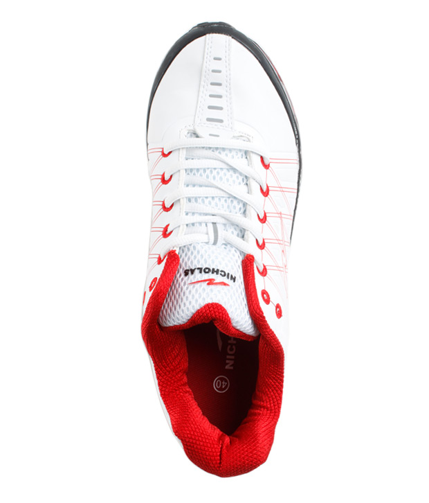 Nicholas Men's Running White & Red Shoe