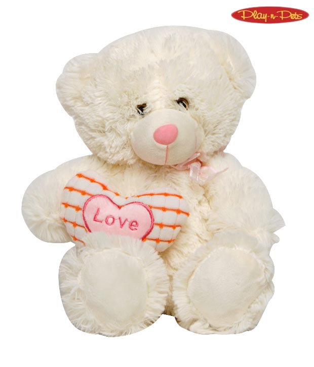 Play-n-Pets Small Pink & Cream Bear Heart Soft Toy