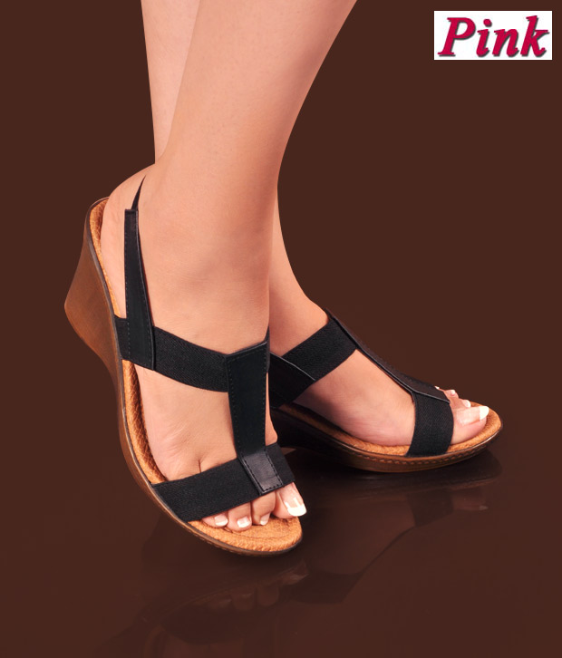 Pink Black Wedge Heel Sandals