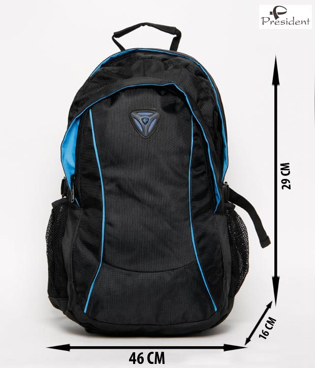 President Lap Black With Blue Piping Backpack