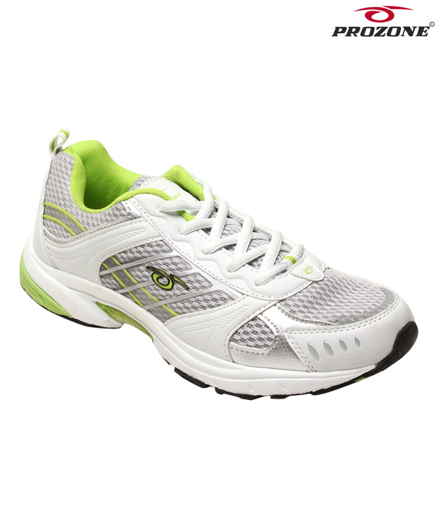 Prozone White & Light Green Sports Shoes