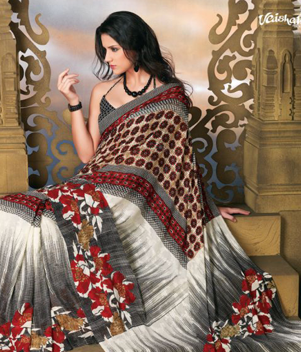 Vaishali Fashionable Cream Printed Saree With Unstitched Blouse