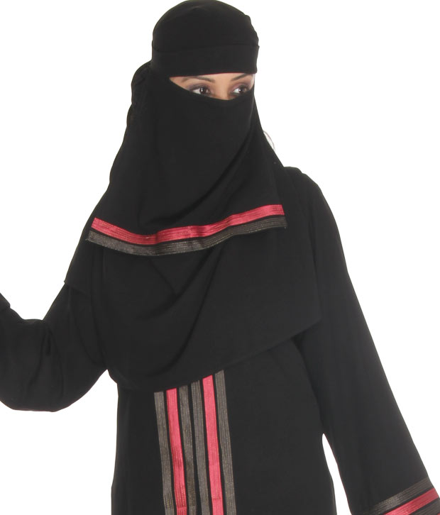 Sabiha Poised Black Burqa With Hijab & Naqab