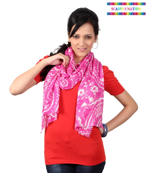 Scarves Nation Pink & White Paisley Print Scarf