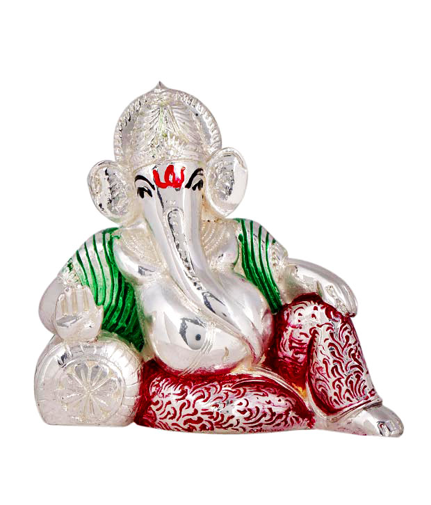 Shanti Lord Ganesha Silver Coated Idol