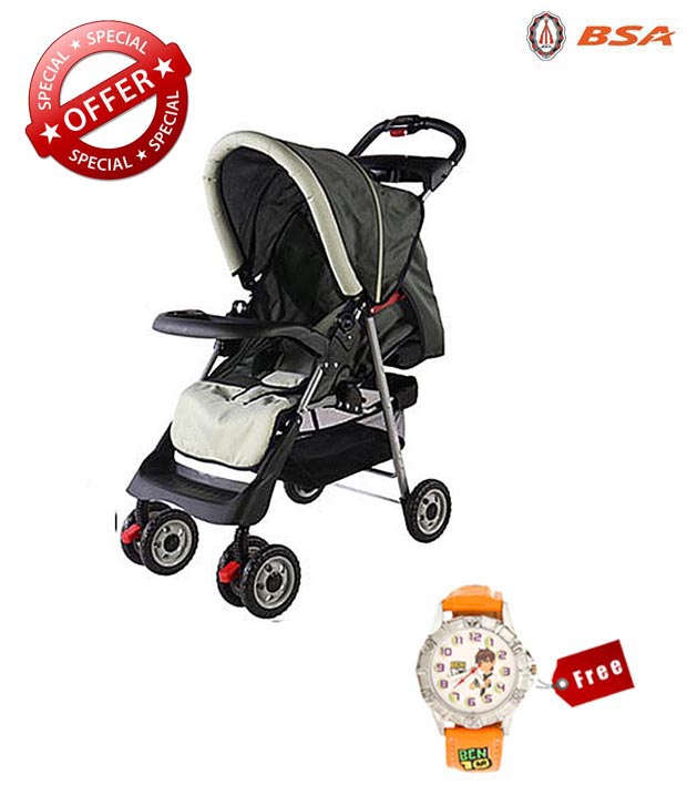 BSA Rocking Grey Pram with free kids watch