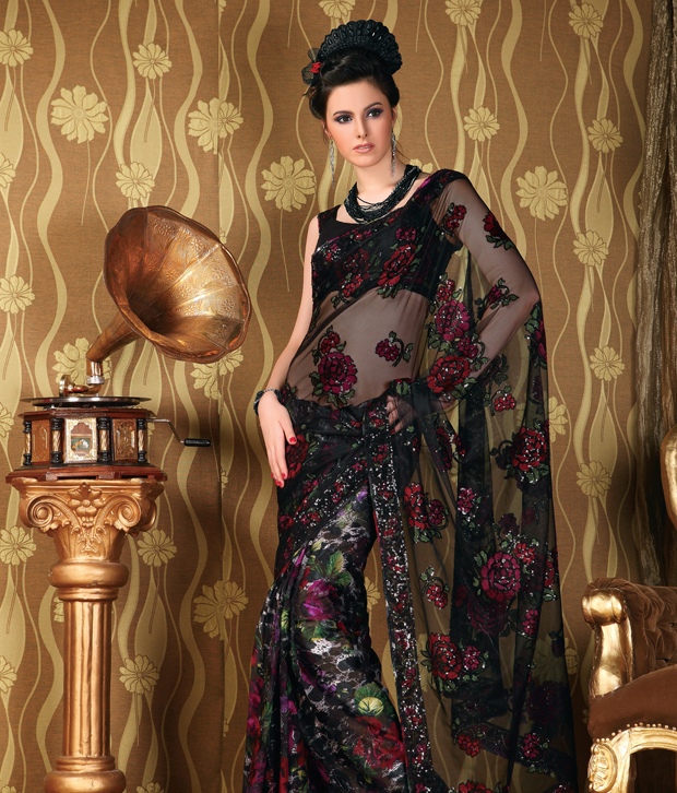 Vaishali Angelic Black-Maroon Saree With Unstitched Blouse
